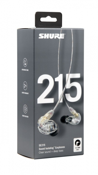 Casti profesionale in-ear Shure SE215-CL-EFS, cu super izolare fonica, transparent