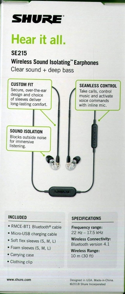 Casti profesionale in-ear Shure SE215-CL-BT1-EFS,  Bluetooth, Wireless, cu super izolare fonica, transparent 3